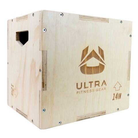 Ultra Fitness Gear 3 in 1 Wood Plyo Box for Jump, Crossfit, MMA Training, Plyometrics. Small 16/14/12