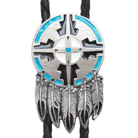 Men's Western Bolo Tie Shield & Feather with Black Leatherette - 18 inch hang - One Size