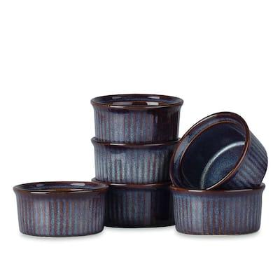 vancasso Carpi Ramekins Set of 6, Reactive Glaze Blue
