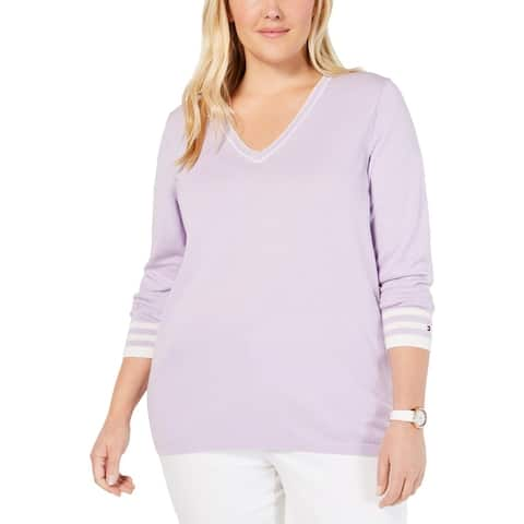 Tommy Hilfiger Womens Plus Pullover Sweater Cotton V-Neck - Lavender