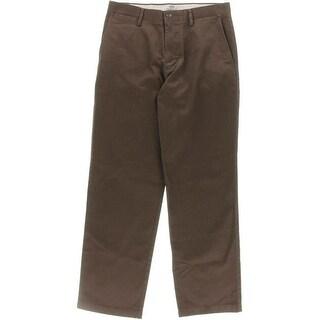 Dockers Mens Field Khaki Flat Front Slit Pockets Straight Leg Pants