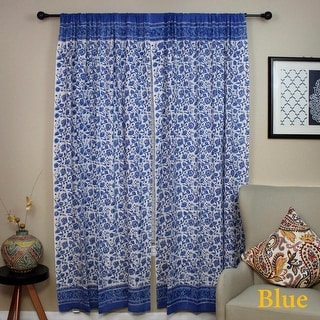 Handmade Cotton Rajasthan Block Floral Print Curtain Drape Panel Blue & Pink 46x88 Inches - 46x88 inches