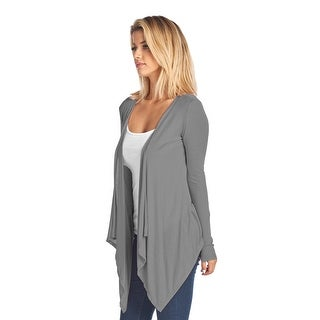 Women's Short Long Sleeve Cardigan With Open Front GREY (Small)