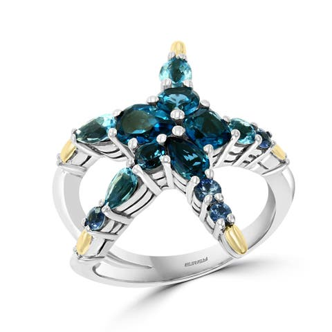 Effy Jewelry Sapphire Starfish Ring with Blue Topaz & London Blue Topaz in 925 Sterling Silver & 18K Yellow Gold Plating,3.23TWC