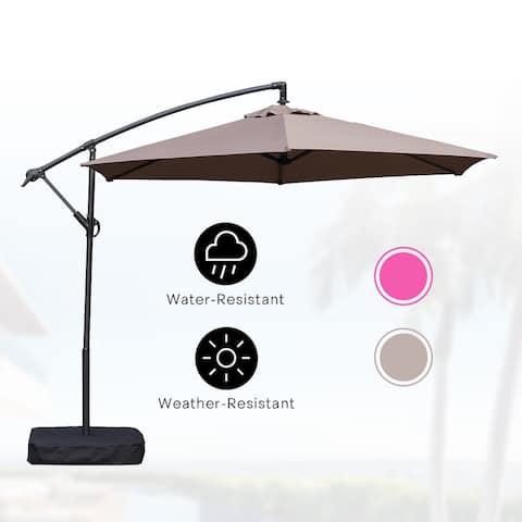 Amarantos 10 Ft Patio Umbrella Outdoor with Base Easy Adjustment Hanging Table Market Offset Umbrella for Garden, TAUPE