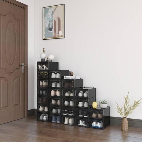 "24 Pack Plastic Foldable Shoe Organizer Stackable StorageBoxe(Medium/ Black) - 9"" L x 13"" W x 5.5"" H"