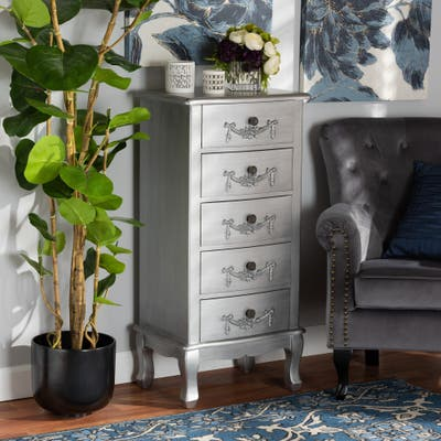 Callen Classic and Traditional Brushed Wood 5-Drawer Chest-Silver