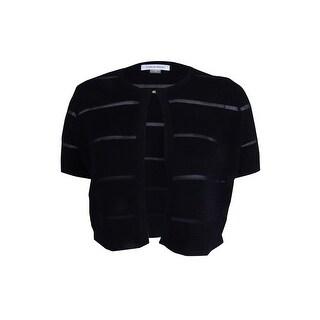 Calvin Klein Women's Petite Short Sleeve Illusion Stripe Shrug - pm (Option: White)