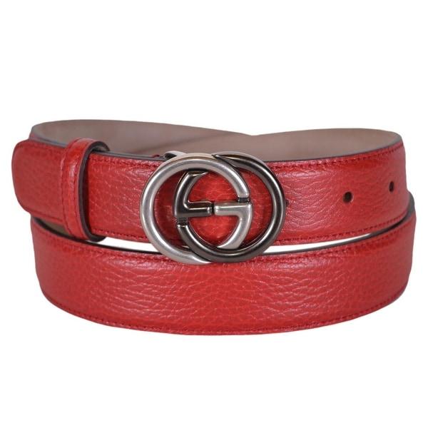 d6712928a6f Gucci Men  x27 s 295704 Red Leather Interlocking 2 Tone GG Buckle Belt 38