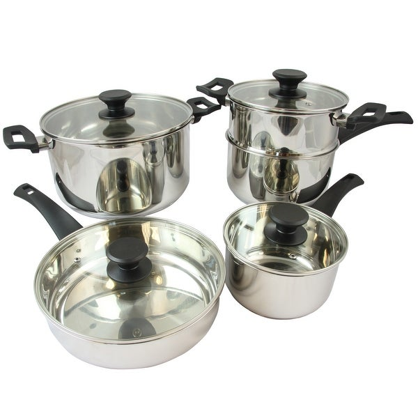 Oster Sabato 9 Piece Stainless Steel Cookware Set with Lids. Opens flyout.