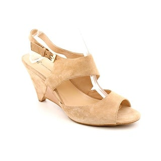 INC International Concepts Fama Women Open Toe Suede Nude Wedge Heel