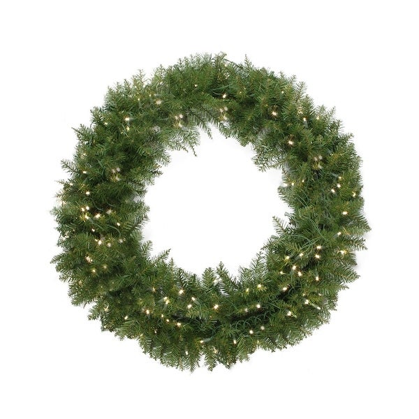 "36"" Pre-Lit Northern Pine Artificial Christmas Wreath - Warm Clear LED Lights"