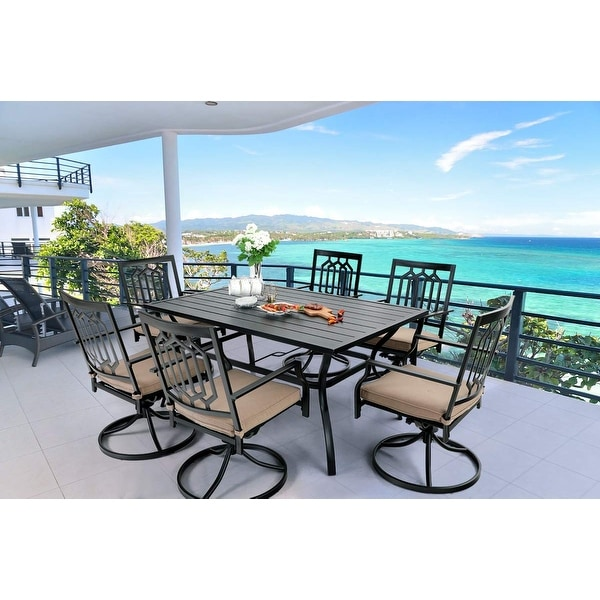 MFSTUDIO 7-Pcs Outdoor Dining Set: Steel Swivel Dining Chair with Cushion and 6-Person Umbrella Table. Opens flyout.