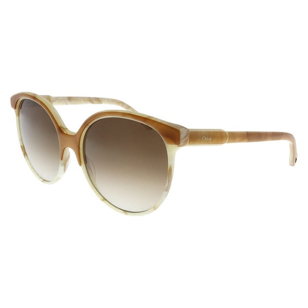dc47bcf824aa Shop Chloe CE733 S 241 Amber Round Sunglasses - 59-19-145 - Free ...