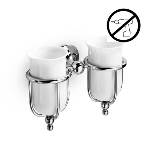 WS Bath Collections Venessia 52903-G Wall Mounted Ceramic Tumblers from the Venessia Glue Collection - Polished Chrome
