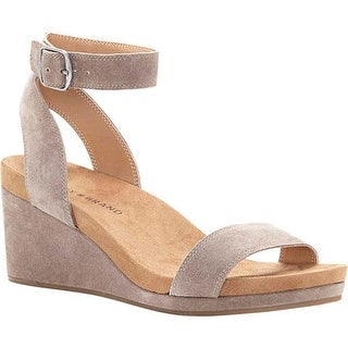 Lucky Brand Women's Karston Ankle Strap Wedge Sandal Brindle Suede