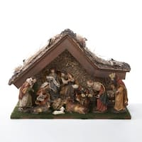 "11-Piece Inspirational Religious Christmas Nativity Set with Wooden Stable 20"" - brown"