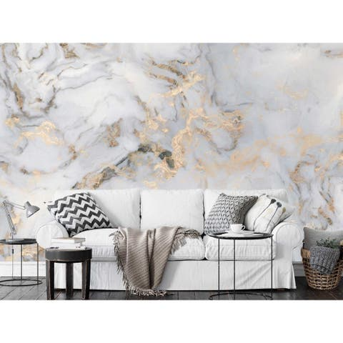 White Marble Pattern Gold Abstract Removable Textile Wallpaper