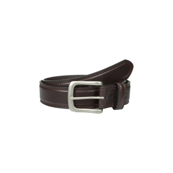 Danbury Western Belt Mens Nickel Genuine Leather Stitch