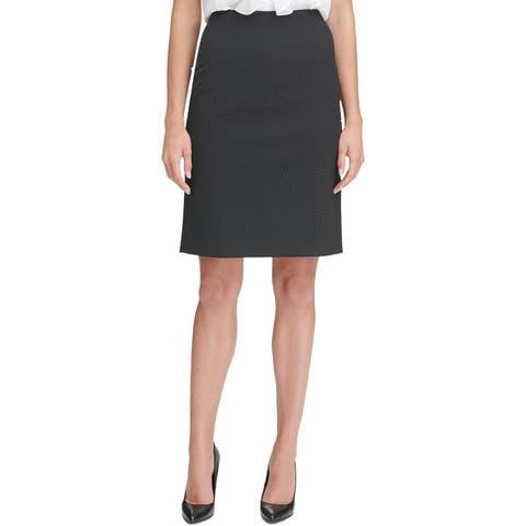 Tommy Hilfiger Womens Pencil Skirt Pindot Above Knee - Black/Ivory
