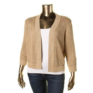 Kasper Womens Metallic Open Front Cardigan Sweater