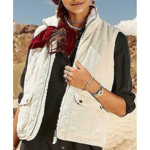 Thread & Supply Women's Jacket Pink Size Medium M Corduroy Fur Vest