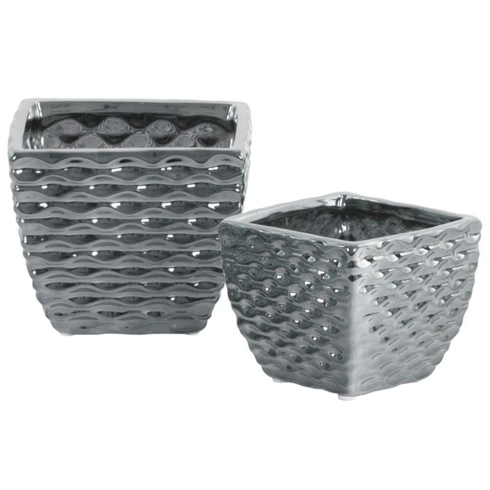 Ceramic Square Vase with Embossed Wave Pattern, Set Of 2, Silver