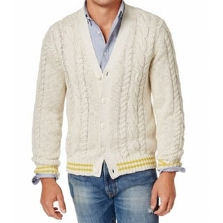 Tommy Hilfiger White Ivory Mens 2XL Cable Knit Cardigan Sweater