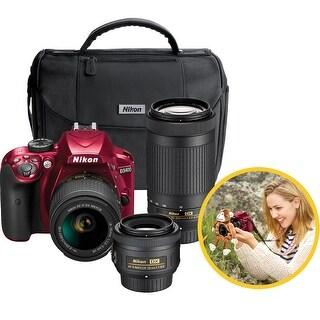 Nikon D3400 DSLR Triple Lens Parent's Camera Kit (Red)
