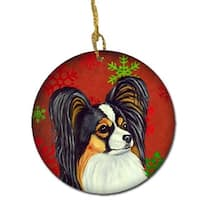 Papillon Red Snowflake Holiday Christmas Ceramic Ornament