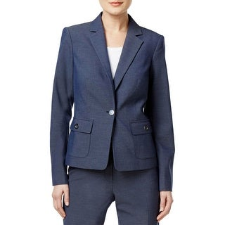 Calvin Klein Womens One-Button Blazer Long Sleeves Grommet