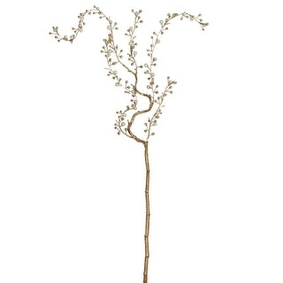 "39"" Pearl and Gold Willow Artificial Branch Spray"