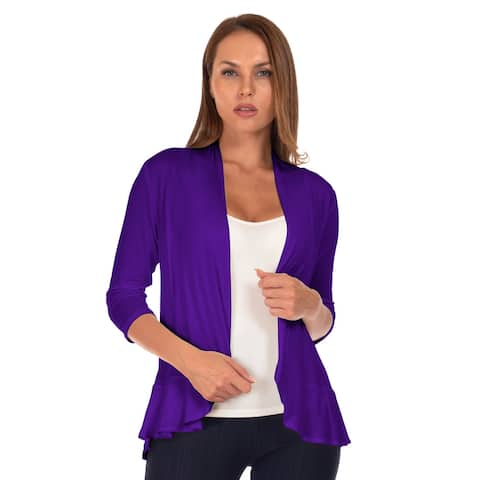 Simply Ravishing Women's 3/4 Sleeve Ruffle Hem Cardigan