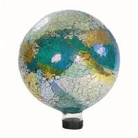 """10"""" Green Iridescent Crackled Glass Mosaic Outdoor Patio Garden Gazing Ball"""