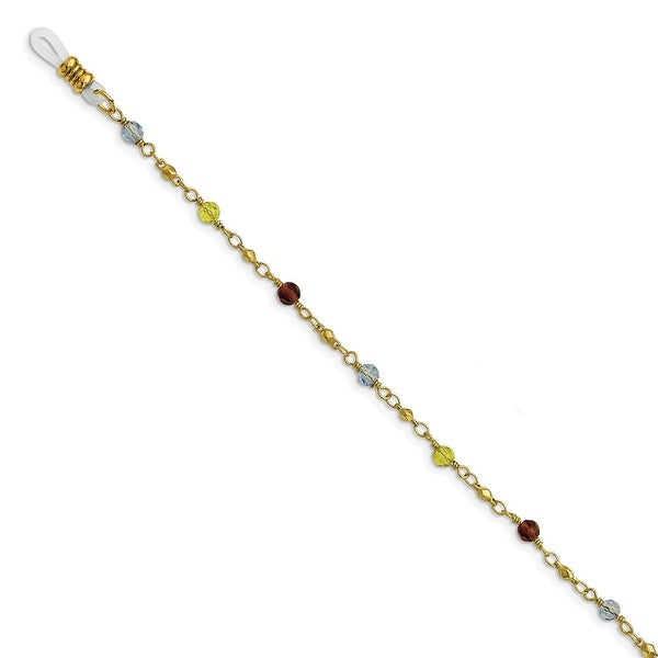 Goldtone Multi Colored Glass Beads Eyewear Holder Necklace - 32in