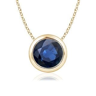 Bezel Set Round Blue Sapphire Solitaire Pendant