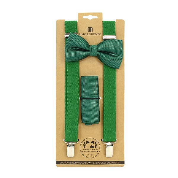 Men's Green Solid 3 PC Clip-on Suspenders, Bow Tie and Hanky Sets