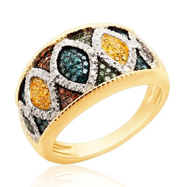 0.70ct Round Brilliant Cut Multi Color Diamond Designer Ring