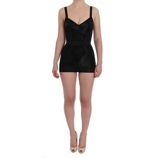 Dolce & Gabbana Black Floral Stretch Romper Bodysuit - it42-m
