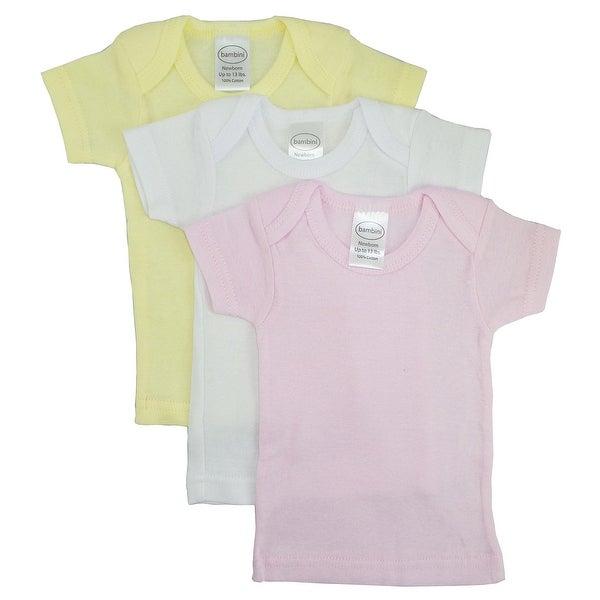 Bambini Girls Pastel Variety Short Sleeve Lap T-shirts - 3 Pack - Size - Large - Girl