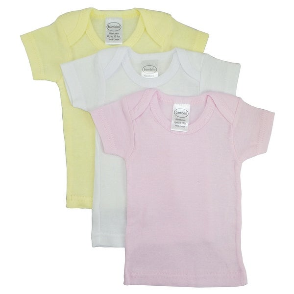 Bambini Girls Pastel Variety Short Sleeve Lap T-shirts - 3 Pack - Size - Newborn - Girl