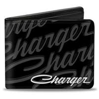 Charger Script Emblem Repeat Corner Black Grays White Bi Fold Wallet - One Size Fits most