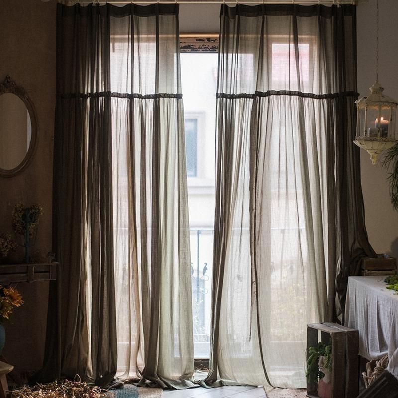 RusticReach Seaweed Green Handmade Cotton Sheer Curtains ([S] 48 X 84)