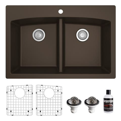 Karran Drop-in Quartz 33 in. Double Bowl 50/50 Kitchen Sink Kit