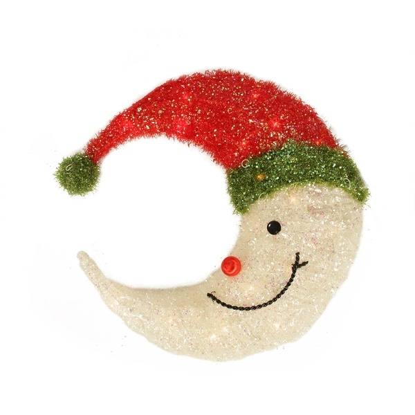 """17"""" Lighted Sparkling Tinsel Crescent Moon Hanging Christmas Outdoor Decoration - WHITE"""