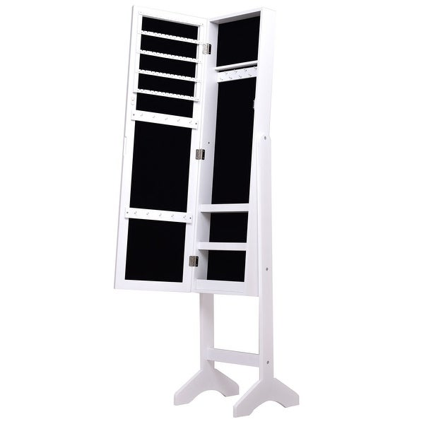 Costway White Mirrored Jewelry Cabinet Armoire New
