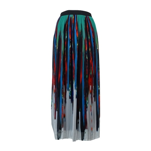 NY Collection Women's Pleated Printed Chiffon Maxi Skirt - Green/Blue/Multi
