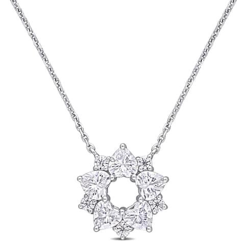 Miadora 14k White Gold 1 5/8ct TGW Created White Moissanite Floral Station Necklace
