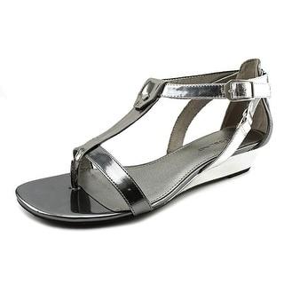 Bandolino Pooky Women Open Toe Synthetic Silver Wedge Sandal