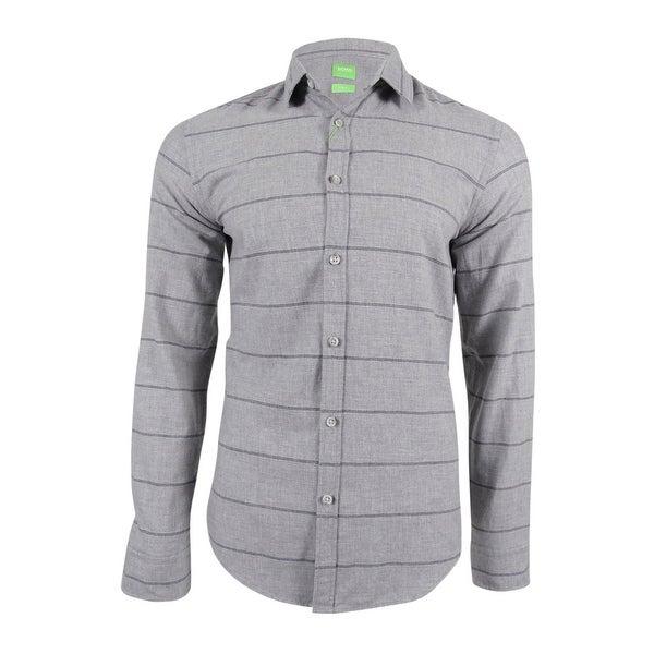 5b6ae72e6 Shop Hugo Boss Men's Bambra Striped Shirt - Grey - On Sale - Free Shipping  Today - Overstock.com - 18947356